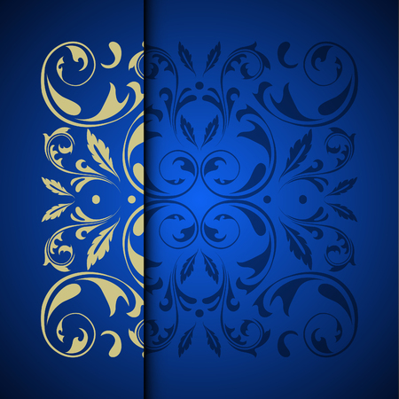 Vector gold oriental arabesque pattern background with place for text. Blue color