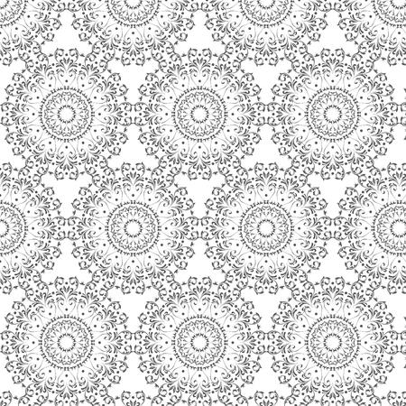 丸いアラベスク要素を持つオリエンタルベクターパターン。アラベスクとヴィンテージパターン。
