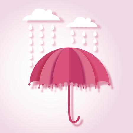 beautiful paper art vector illustration with umbrella and rain drops Иллюстрация