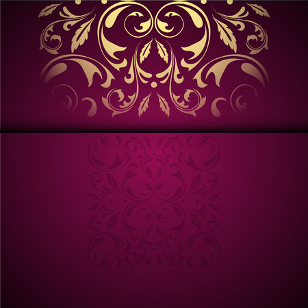 テキストのための場所とベクトルゴールドオリエンタルアラベスクパターンの背景。ガーネットカラー