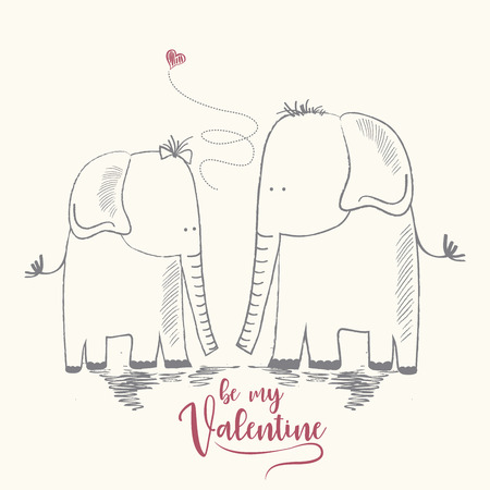 Two enamored elephants, greeting card of Valentines Day and wedding, vector illustration