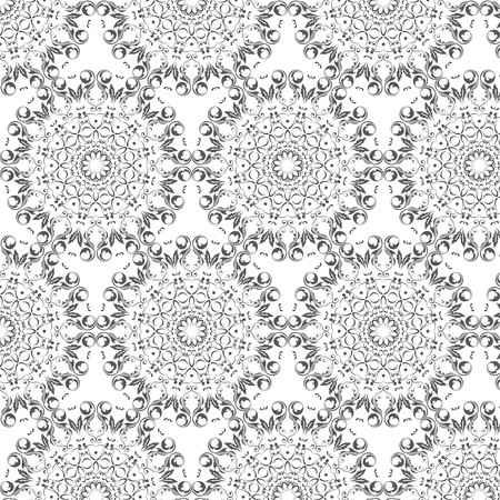 Oriental vector pattern with round arabesques elements. Vintage pattern with arabesques.
