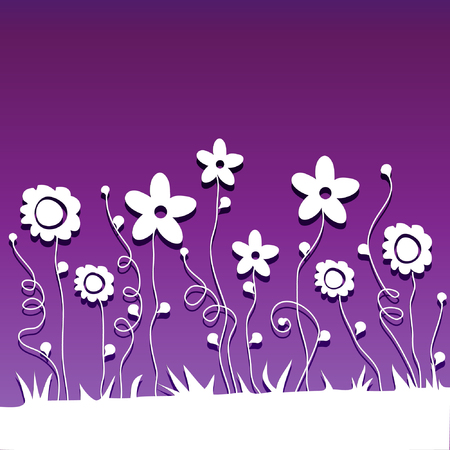 delicate paper  cut flowers on ultraviolet background, vector