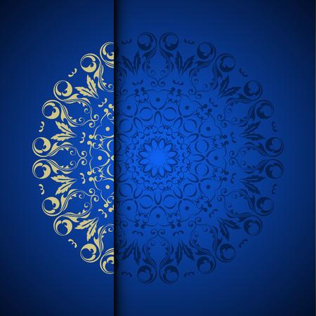 텍스트에 대 한 장소를 가진 벡터 골드 동양 풍의 패턴 배경. 푸른 색 스톡 콘텐츠 - 95589266
