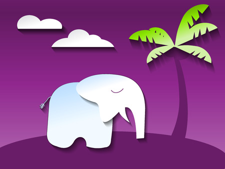 cute elephant in ultraviolet jungle, paper art style vector