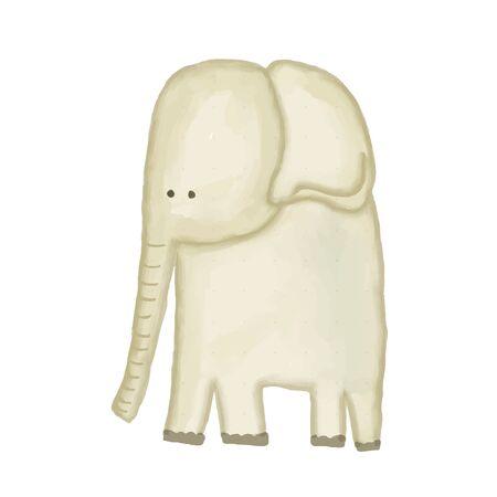 落書き、水彩ハンド描かれた象は白い背景に隔離され、ベクトル  イラスト・ベクター素材