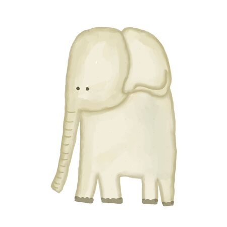 doodle, watercolor hand drawn elephant isolated on white background, vector