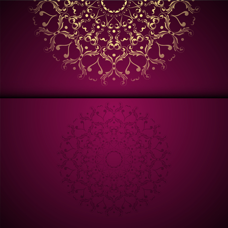 Vector gold oriental arabesque pattern background with place for text. Garnet color