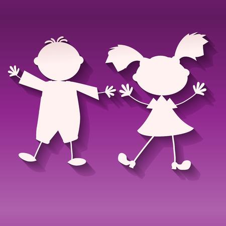 2人の子供、女の子と男の子、紫外線の背景に、ペーパーアートスタイルのベクトル