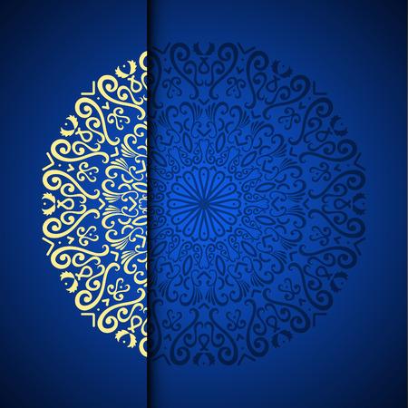 Tło wzór złoto orientalne arabeska z miejscem na tekst. Niebieski kolor