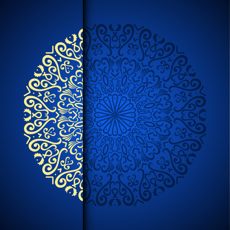 Vector gold oriental arabesque pattern background with place for text. Blue color Stock fotó - 95589281