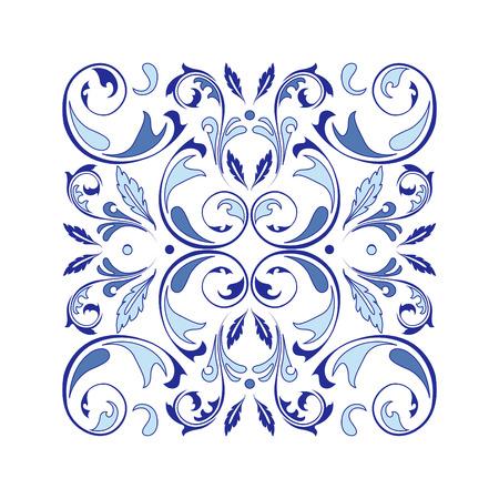 Ornement carré vecteur oriental avec des éléments d'arabesques. Ornement classique traditionnel. Motif vintage avec arabesques.