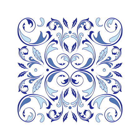 Oriental vector square ornament with arabesques elements. Traditional classic ornament. Vintage pattern with arabesques.