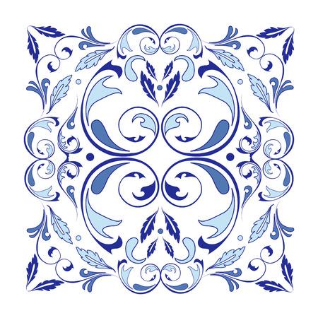 アラベスク要素を持つ東洋ベクトル正方形の装飾。伝統的な古典的な装飾。アラベスクとヴィンテージパターン。  イラスト・ベクター素材