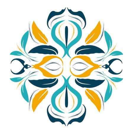 アラベスク要素を持つ東洋ベクトルラウンド装飾。伝統的な古典的な装飾。アラベスクとヴィンテージパターン。