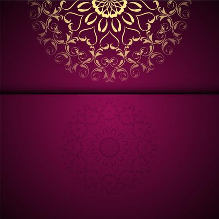 Vector gouden oosterse arabesque patroonachtergrond met plaats voor tekst. Granaat kleur Vector Illustratie