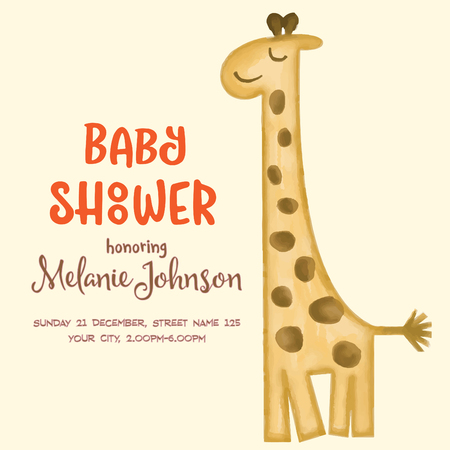 beautiful doodle baby shower card wirh watercolor giraffe, vector