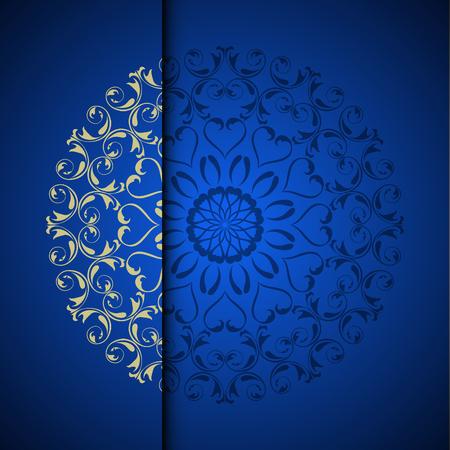 Vector il fondo orientale del modello di arabesque dell'oro con il posto per testo. Colore blu Archivio Fotografico - 95589315
