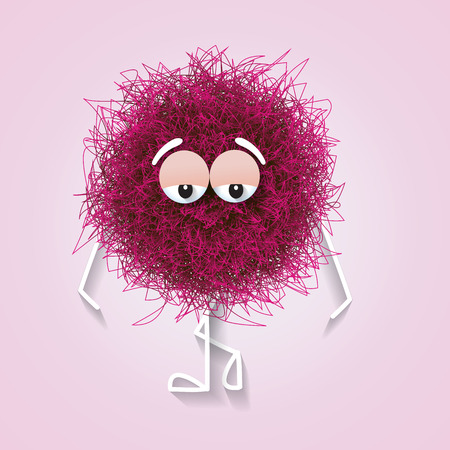 Fluffy cute pink spherical creature thinking and stressed, vector illustration