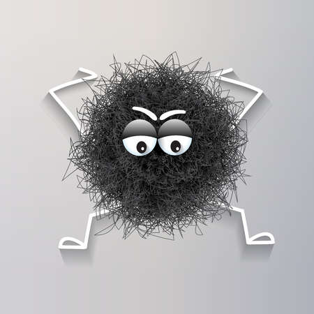 Fluffy black  spherical creature worried and stressed, vector illustration
