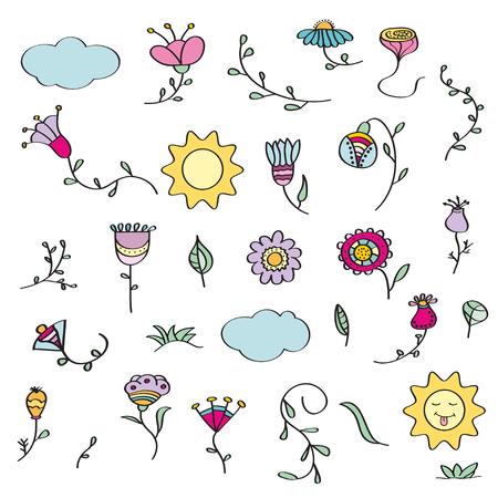 Hand drawn doodle set of flowers. Vector illustration, isolated on white background Illustration