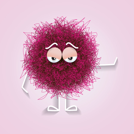 Fluffy colorful spherical creature bored, vector illustration