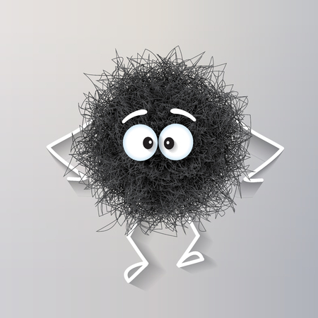 Fluffy cute black spherical creature sad and depressed, vector illustration Vectores