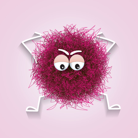 Fluffy cute pink spherical creature worried and stressed, vector illustration