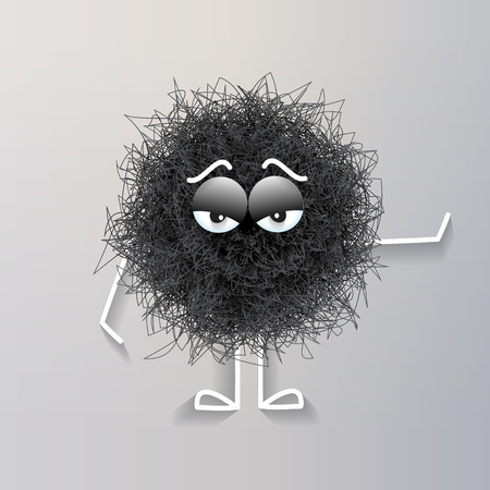 Fluffy black spherical creature bored, vector illustration