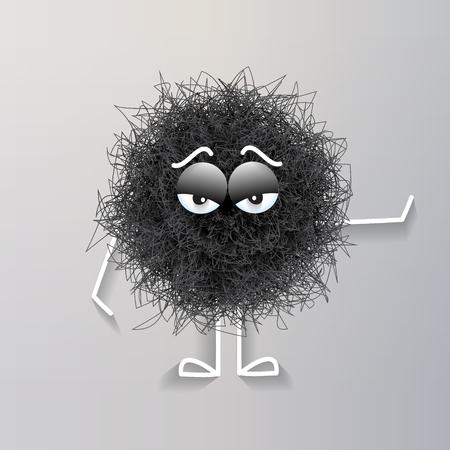 Fluffy black spherical creature bored, vector illustration