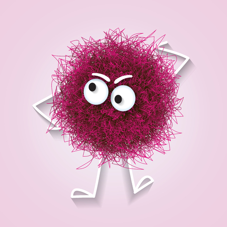 Fluffy cute pink spherical creature thinking , vector illustration
