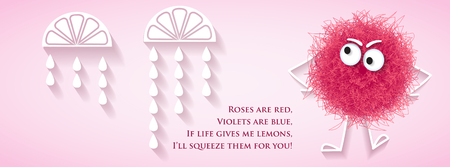 Funny social media  network banner with fluffy pink creature and lyrics message, vector Illustration