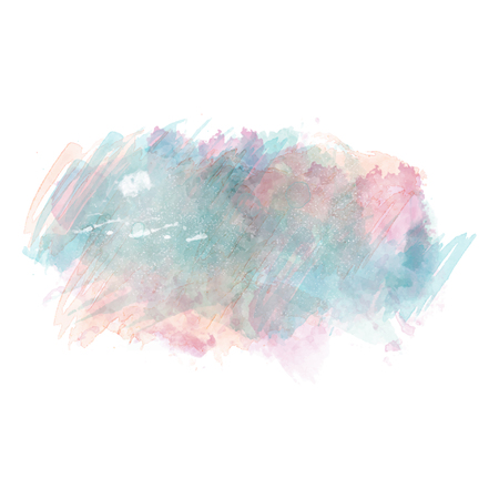 Blue and pink watercolor painted vector stain isolated on white background, vector illustration.