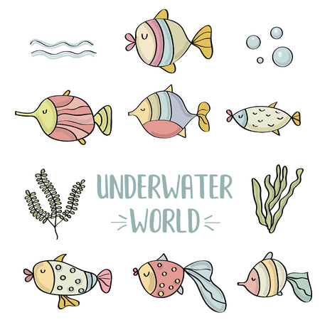 doodle fishes set, underwater world, vector eps 10