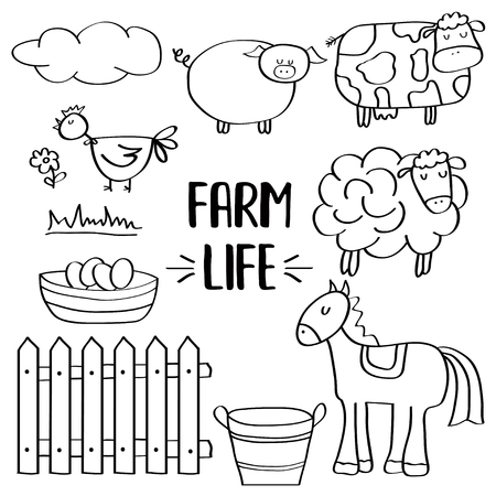 doodle animal farm set for colorig, vector eps 10