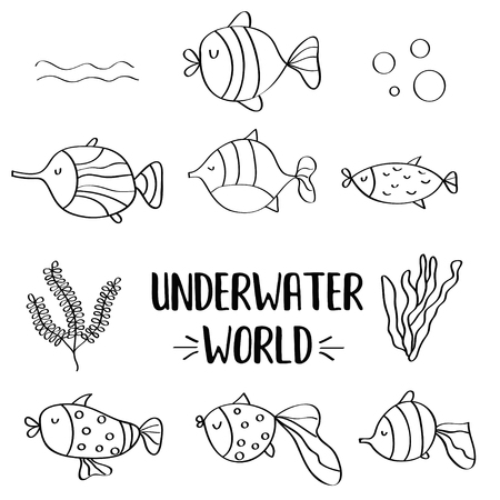 doodle fishes set for colorig, vector eps 10 Ilustracja