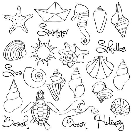 手描きの落書きシーシェルと海の要素セット。ベクトル形式