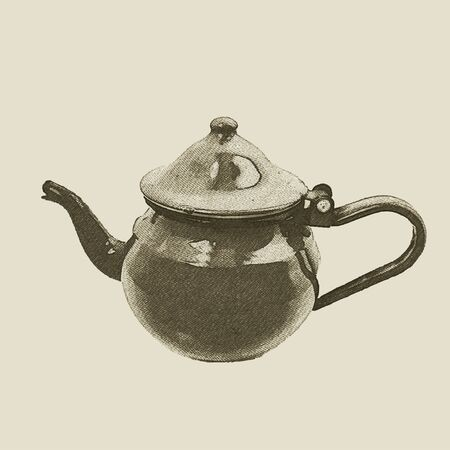 hand drawn vintage kettle, vector eps10 Ilustrace