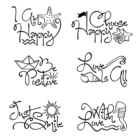 Motivational quotes collection with marine elements, vector format Ilustracja