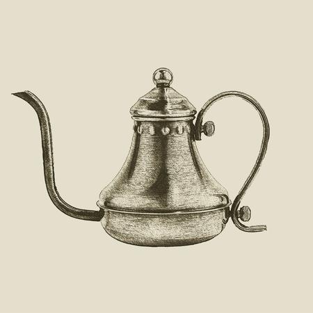 hand drawn vintage kettle, vector eps10 Ilustrace