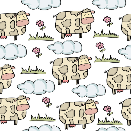 doodle seamless pattern with cows, vector eps 10