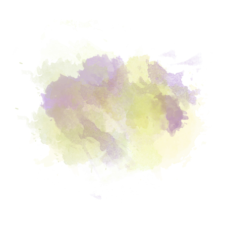 Gree , yellow and purple  watercolor painted stain isolated on white background, vector eps 10 Çizim