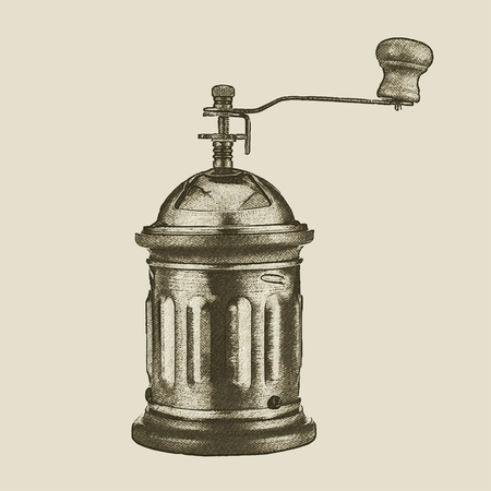 hand drawn vintage coffee grinder, vector eps 10