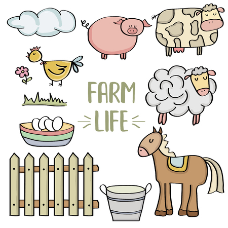doodle animal farm set, vector eps 10