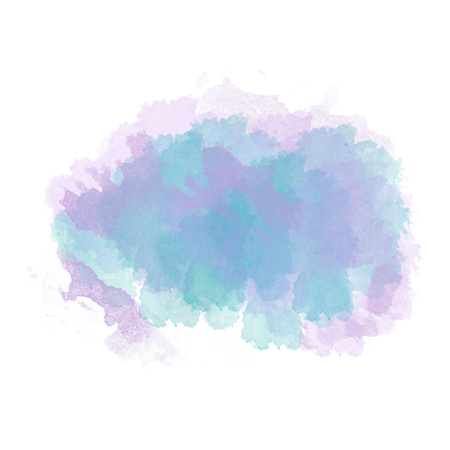 Blue  and purple watercolor painted stain isolated on white background, vector eps 10