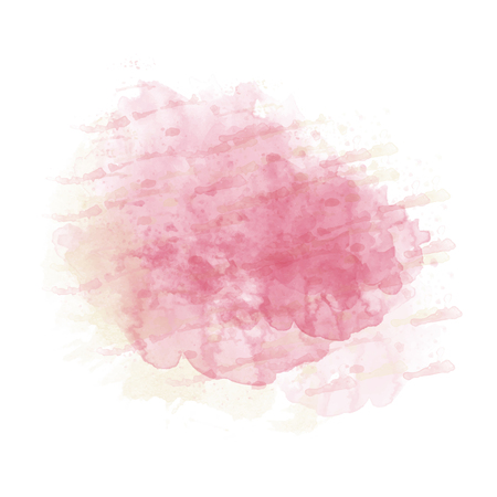 Pink  and yellow watercolor painted stain isolated on white background, vector eps 10