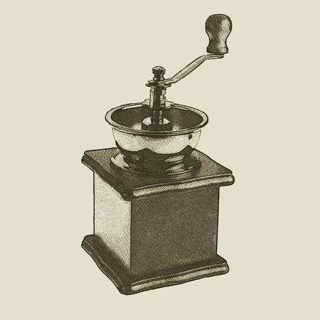 手描きヴィンテージコーヒーグラインダー、ベクトルeps 10  イラスト・ベクター素材