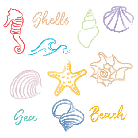 Hand drawn doodle watercolor Seashells and Sea elements set. Vector format