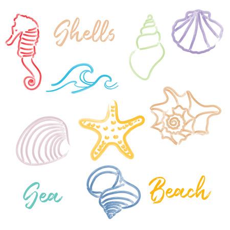 Hand drawn doodle watercolor Seashells and Sea elements set. Vector format