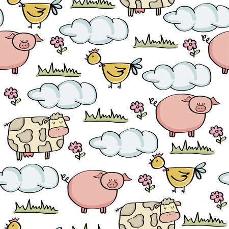 doodle seamless pattern with animal farm, vector eps 10